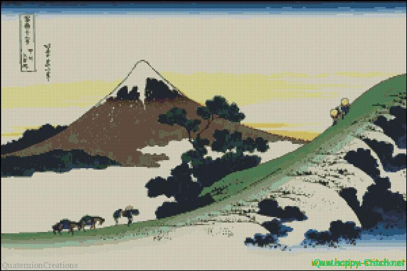 Hokusai Inume Pass (Fuji) cross stitch chart