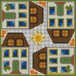 Tall houses cushion pattern