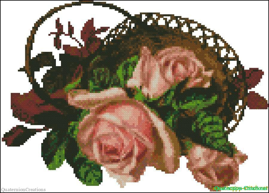 Vintage roses in a basket cross stitch pattern