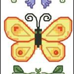 Butterflies bookmark cross stitch pattern