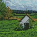A little church in the fields cross stitch pattern