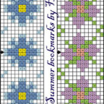 Two cross stitch pattern for bookmarks (summer and winter)