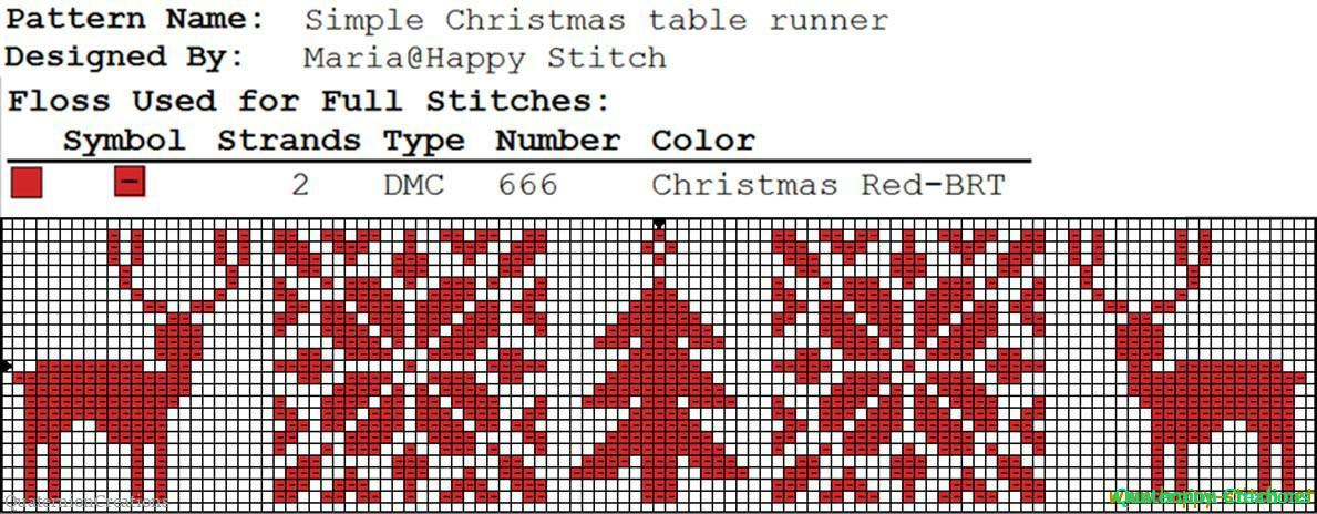 Simple Christmas runner motif (tree and reindeer) free cross stitch pattern