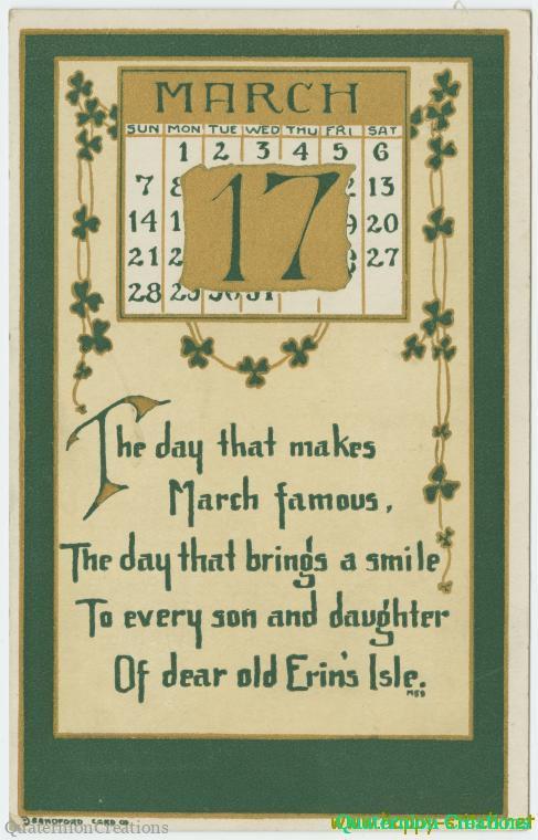 St Patrick's Day vintage postcard