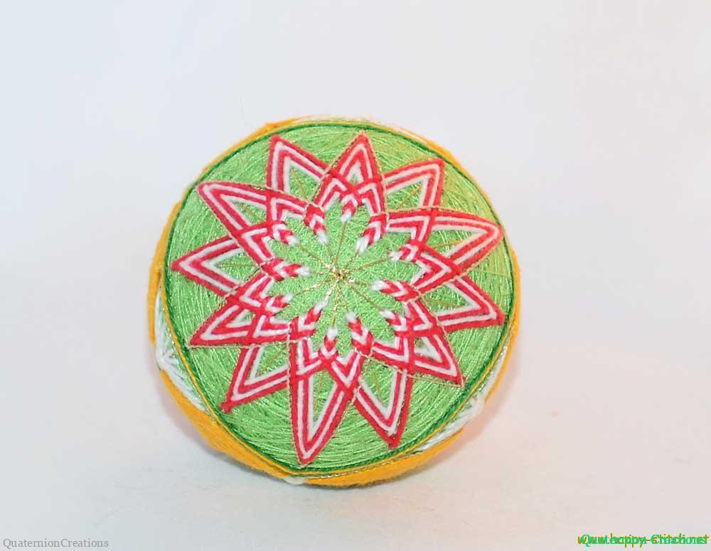 Christmas star temari with diamonds