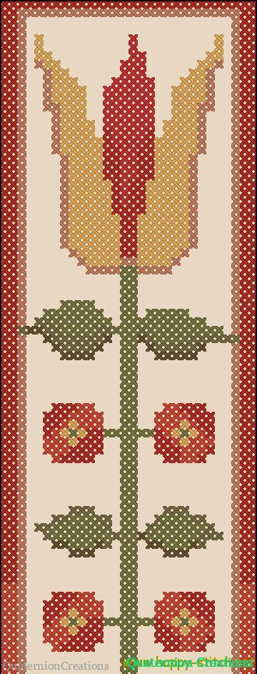 Flower bookmark Primitive art cross stitch pattern