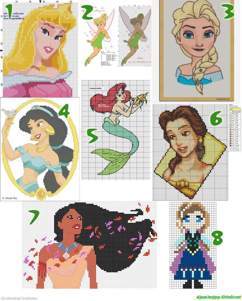 Free cross stitch patterns with Disney princesses