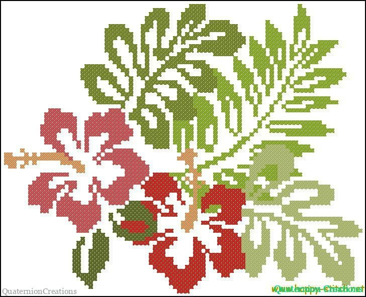 Hibiscus flowers free cross stitch pattern