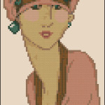 Pink vintage Lady cross stitch pattern