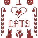 I Love Cats primitive free cross stitch sampler