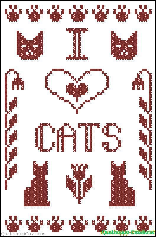 I Love Cats primitive free cross stitch sampler