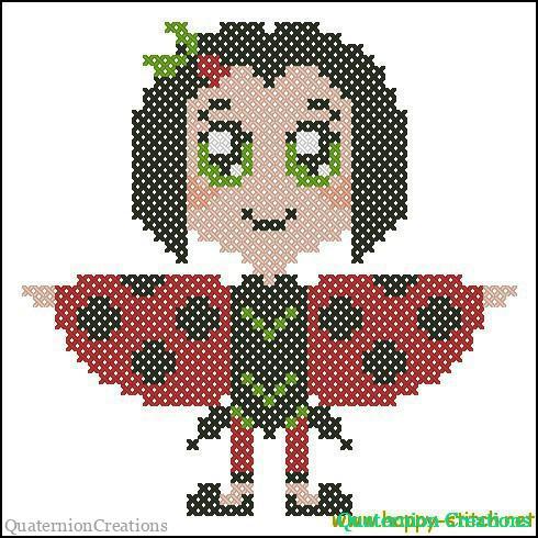 Chibi ladybird cross stitch pattern