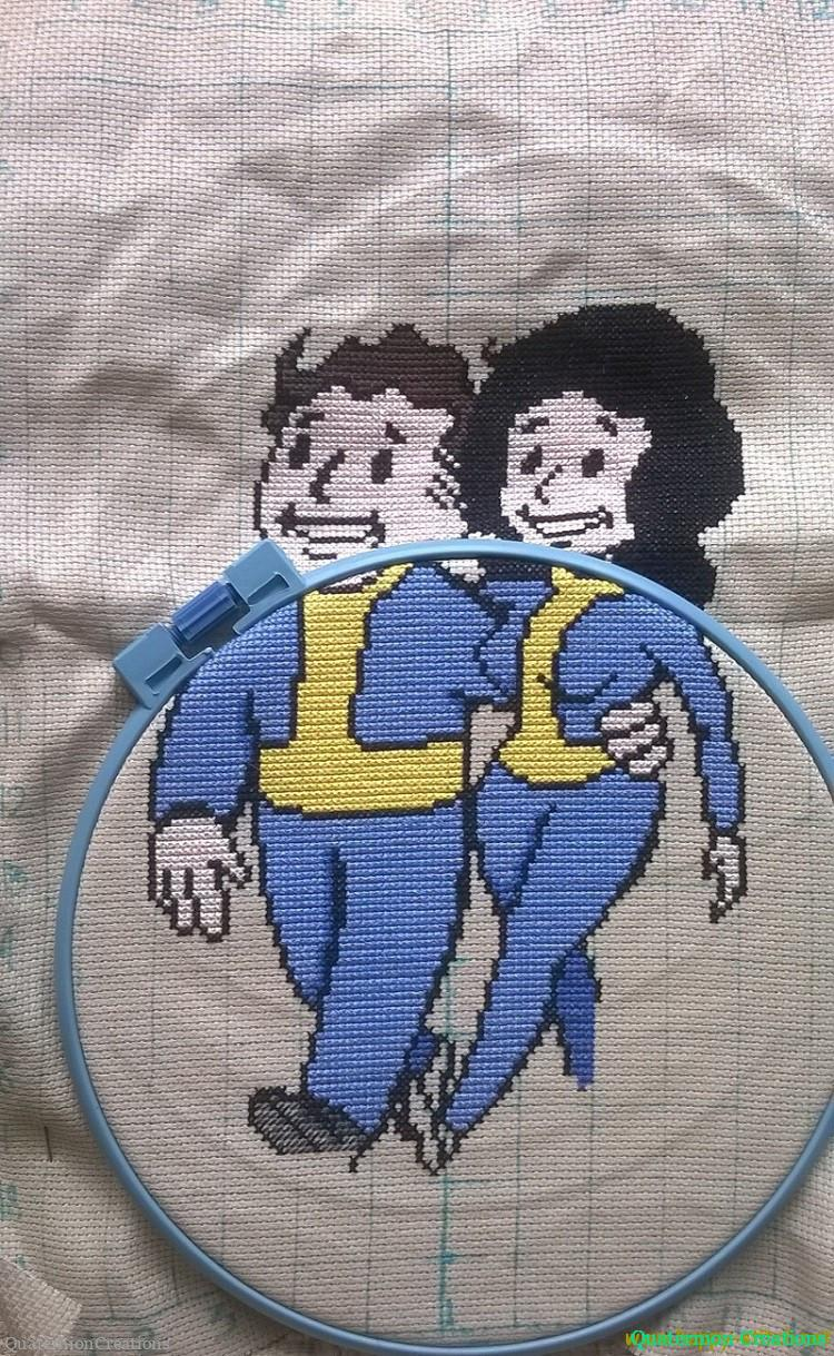 Vault boy and girl wedding embroidery
