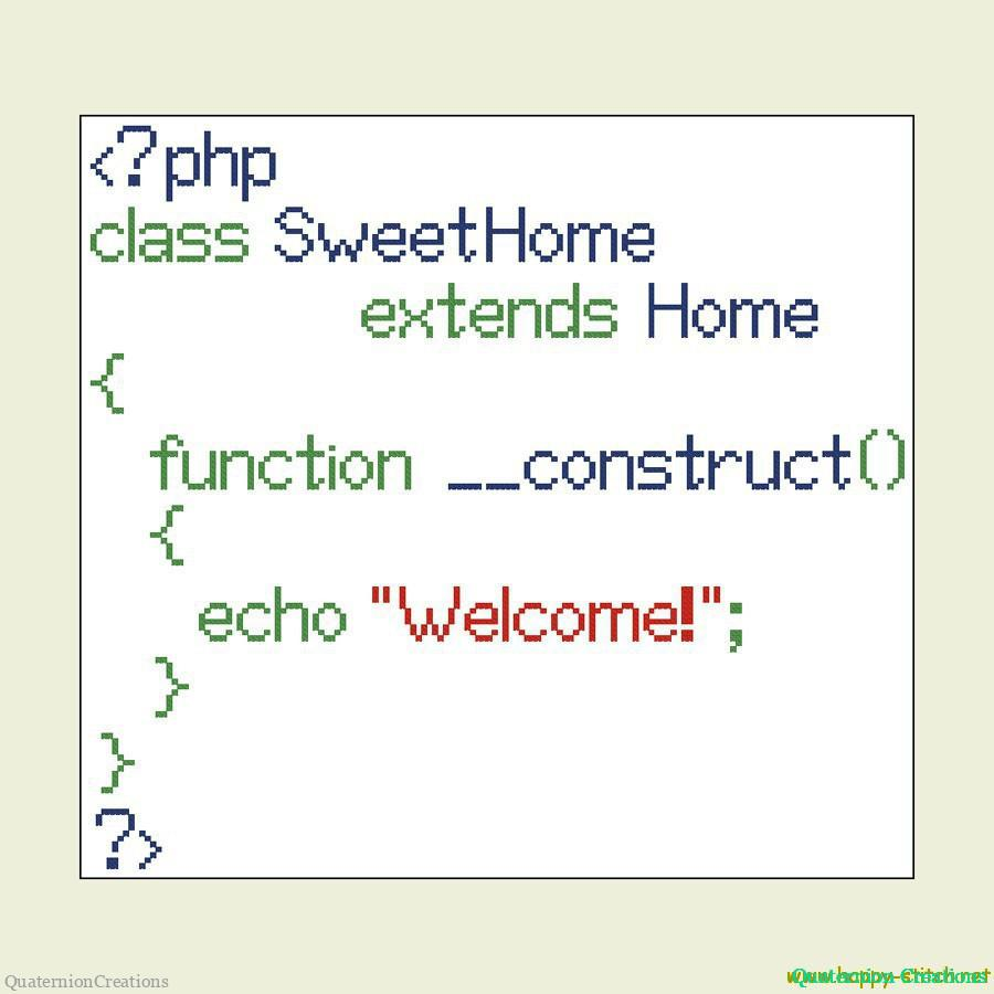 Home Sweet Home PHP cross stitch pattern