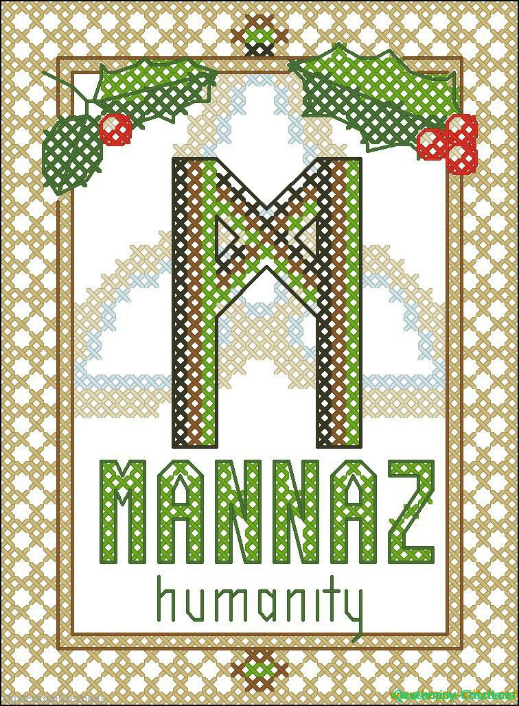 Rune Mannaz (Man, Humanity) free cross stitch pattern