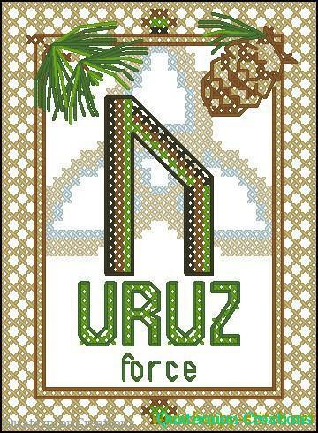 Uruz rune free cross stitch pattern by Happy Stitch