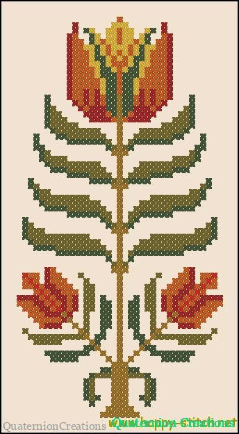 Primitive folk flower pattern