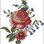 Folk art flowers free cross stitch pattern on Happy-stitch.net