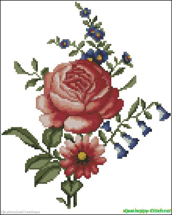Folk art flowers free cross stitch pattern on Happy-stitch.net