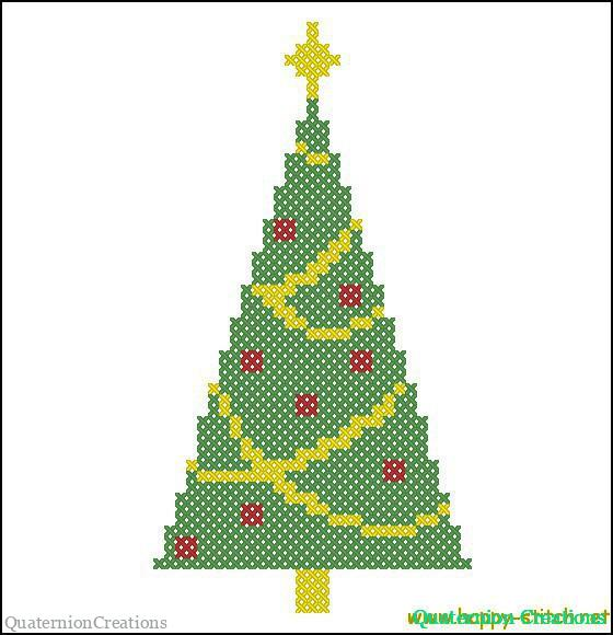 Very simple Christmas tree free cross stitch pattern