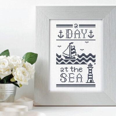 A Day at the Sea blue nautical cross stitch pattern