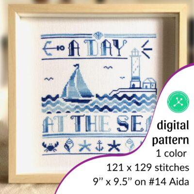 A Day at the Sea nautical cross stitch pattern