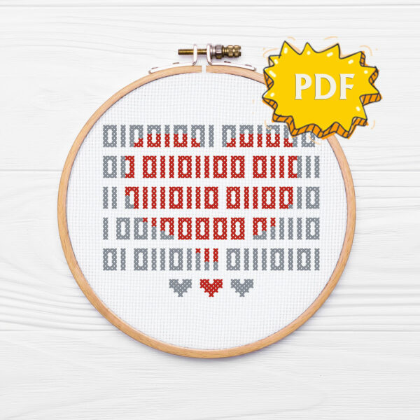 Binary I love you cross stitch pattern