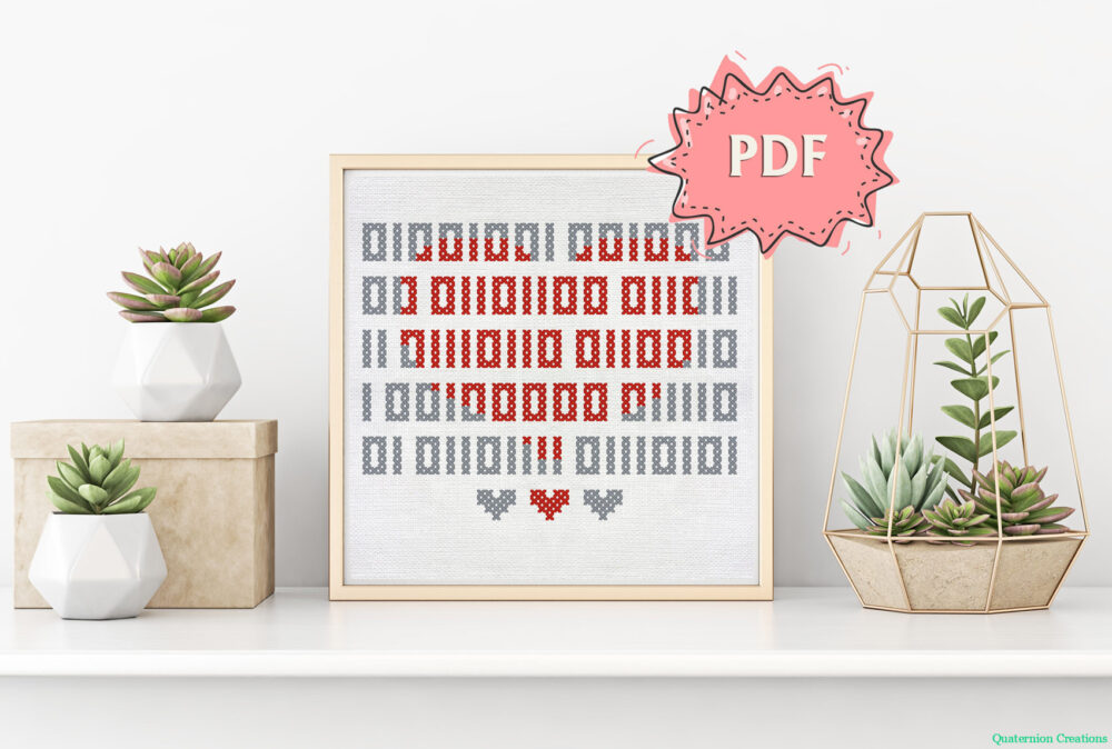Binary I love you cross stitch pattern