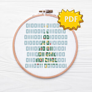 Merry Christmas cross stitch pattern - Merry Christmas in binary code - nerdy seasonal cross stitching, embroidery