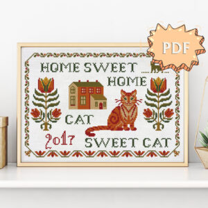 Home sweet home Cat sweet cat cross stitch pattern