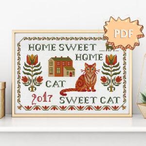 Home sweet home Cat sweet cat cross stitch pattern