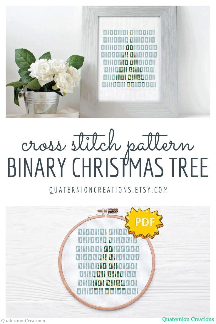 Merry Christmas cross stitch pattern - Merry Christmas in binary code - nerdy seasonal cross stitching, embroidery