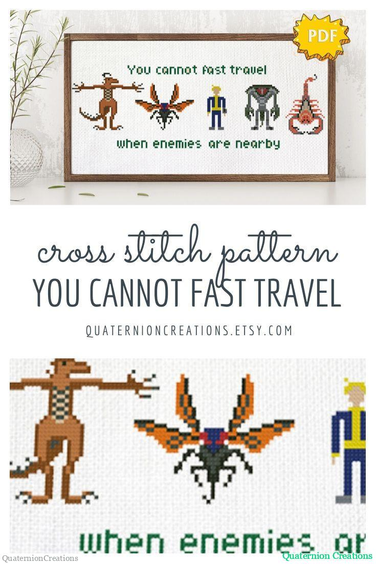 Fallout Vault boy and monsters cross stitch pattern