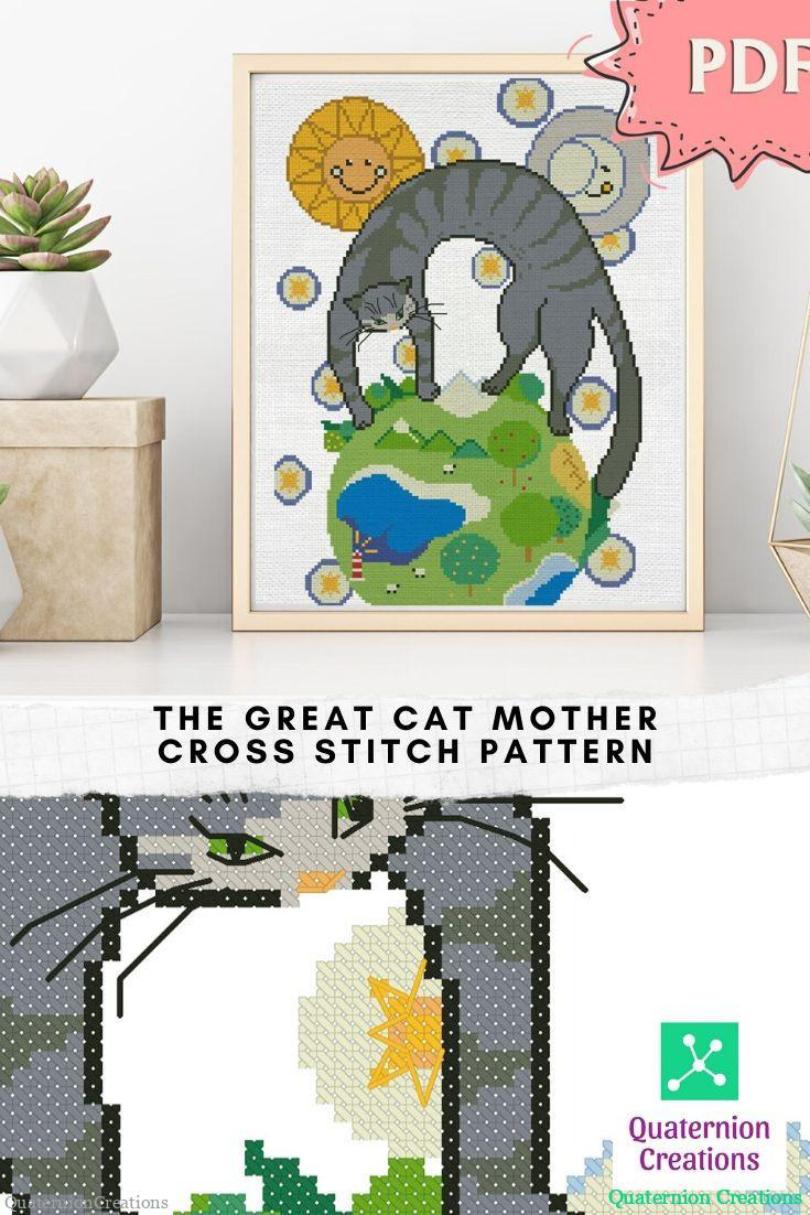 The Great Cat Mother cross stitch pattern