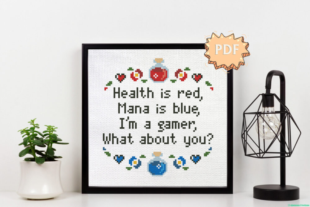 Health is red, Mana is blue - gaming easy cross stitch pattern