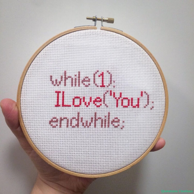 I love you in PHP cross stitch