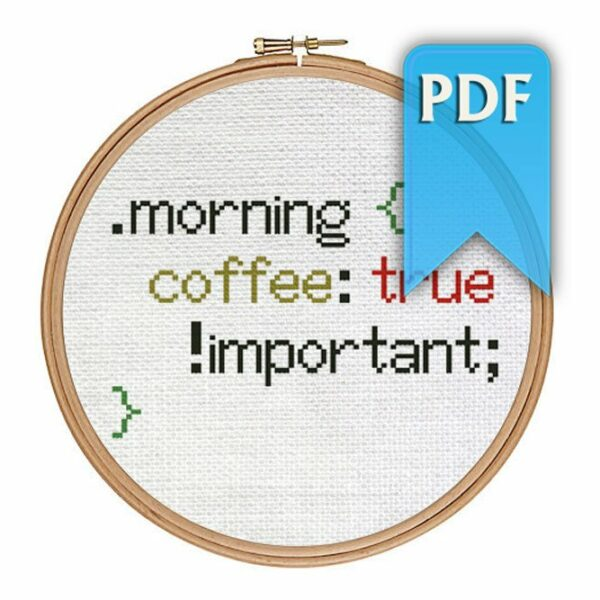 Morning coffee cross stitch pattern