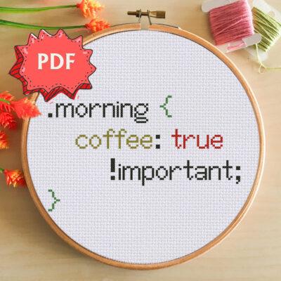 Morning Coffee css cross stitch pattern
