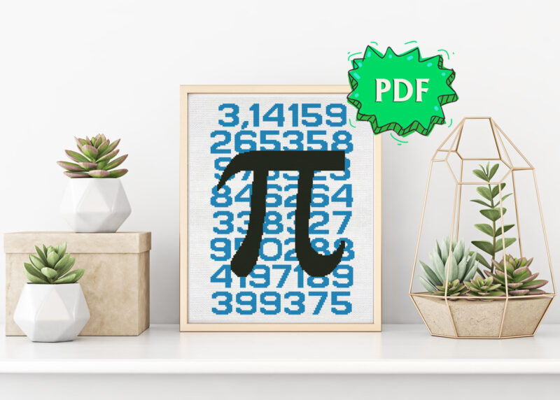 Pi cross stitch pattern - Mathematical constant Pi (3,14) poster style unique cross stitch design - nerdy embroidery