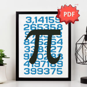 Pi cross stitch pattern - Mathematical constant Pi (3,14) poster style unique cross stitch design - nerdy embroidery