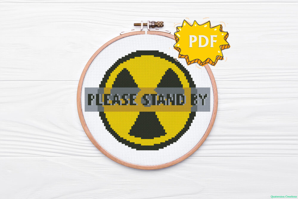 Please Stand By cross stitch design