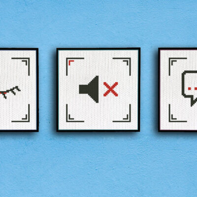 Three wise monkeys cross stitch pattern