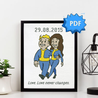 Fallout Vault Boy and Girl geeky wedding cross stitch pattern