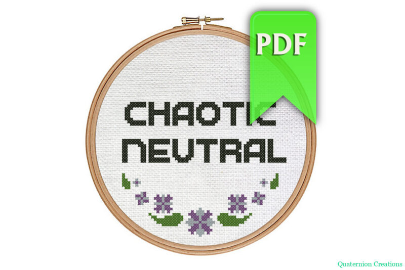 Chaotic Neutral cross stitch pattern