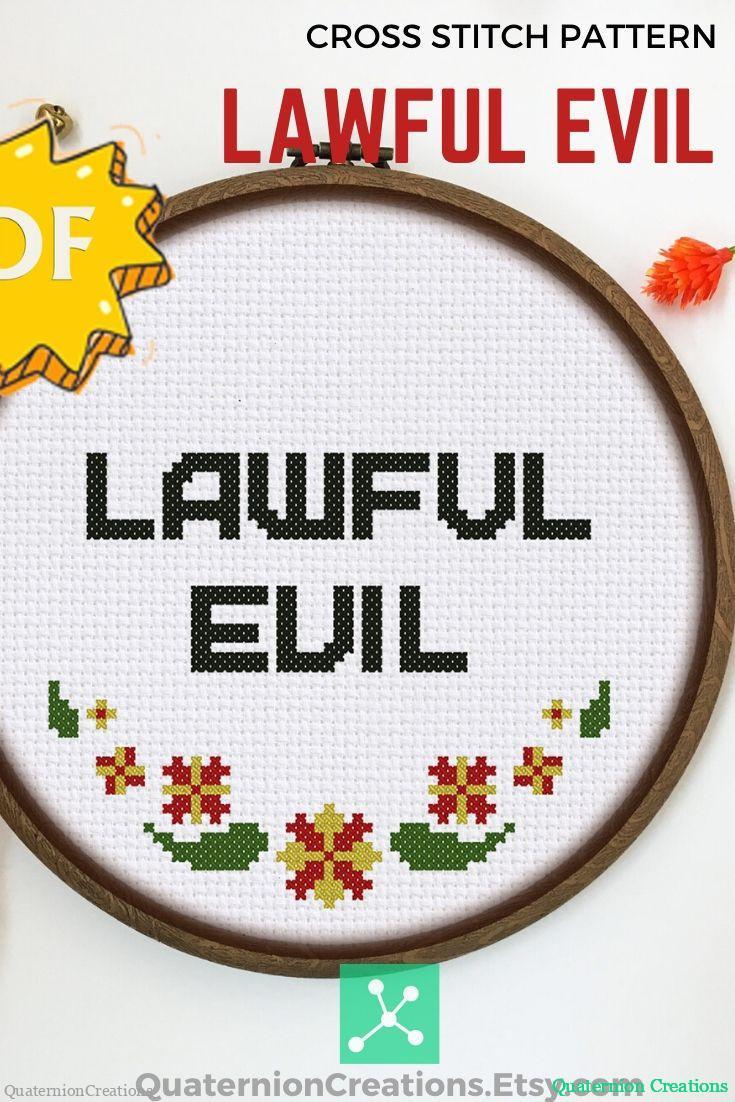 Lawful Evil cross stitch pattern