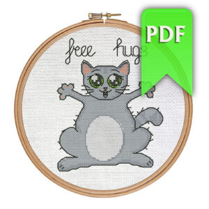 Free Hugs cat cross stitch pattern
