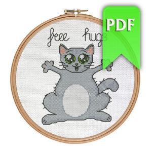 Free Hugs cat cross stitch pattern