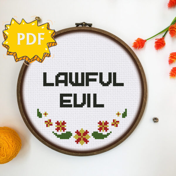 Lawful Evil cross stitch pattern