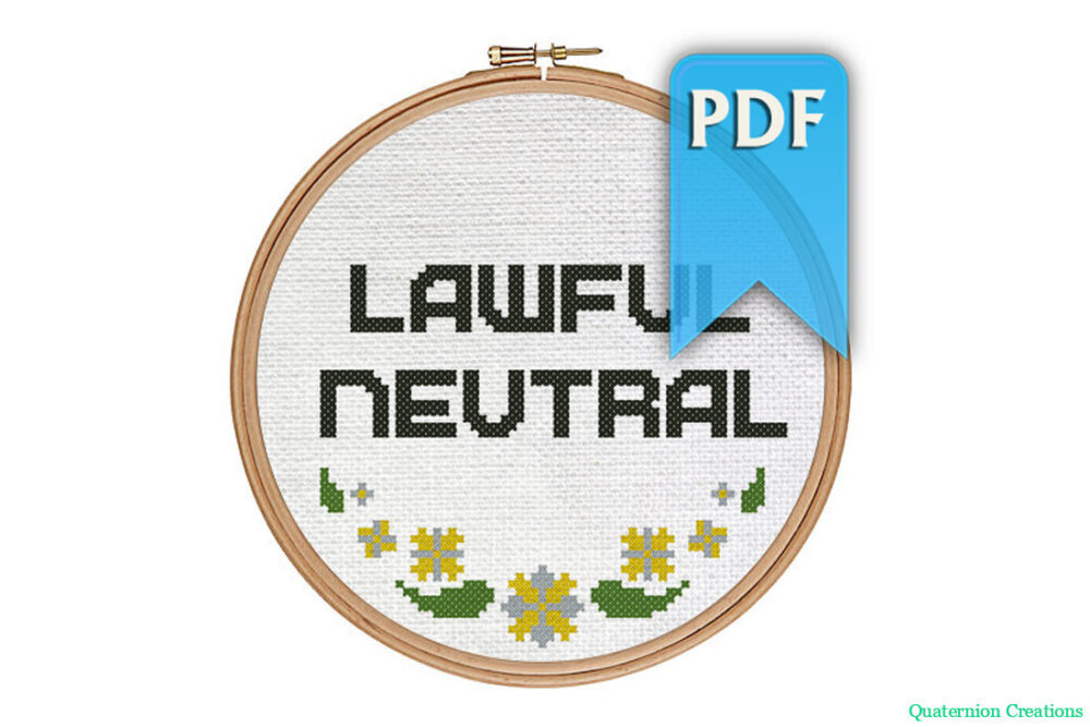 Lawful Neutral cross stitch pattern