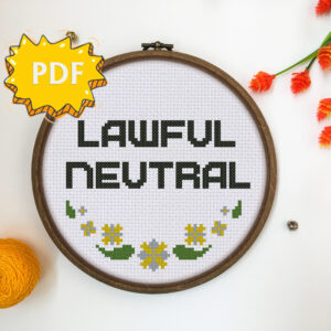 Lawful Neutral cross stitch pattern
